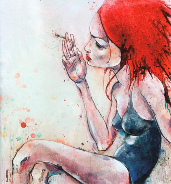 На фото картина девушки, нарисованная канадским художником Беном Туром.