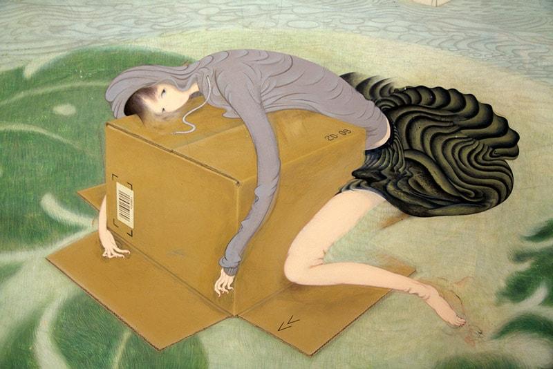Картина девушки, нарисованная молодой японской художницей Томоко Кашики.