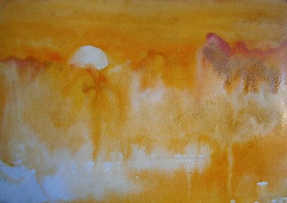 Фото. Рисунок. Набросок картины. Как нарисовать лес, сосну, солнце акварелью. Поэтапно, для начинающих и детей.