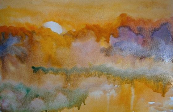 Фото. Картинки. Как нарисовать картину пейзаж природы акварелью. Поэтапно. Для начинающих.