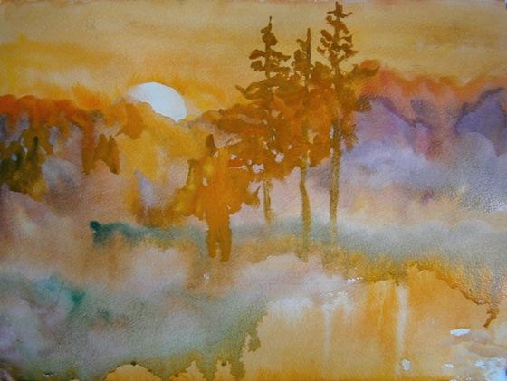 Фото. Картинка. Рисунок. Как рисовать акварелью. Для начинающих, детей. Картины пейзажи природы. Уроки акварели. Мастер класс.