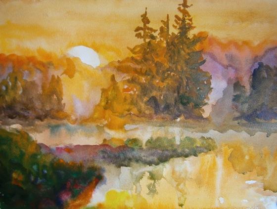 Фото. Картинка. Рисуем картину пейзаж акварелью, поэтапно, для начинающих. Рисунки. Рисование пейзажей. Уроки. Как нарисовать пейзаж.