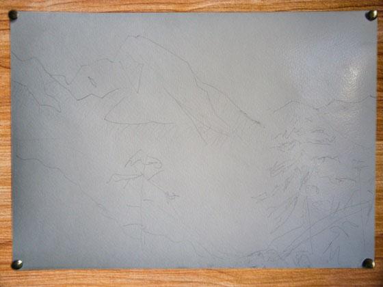 Фото. Картинка. Рисунки на бумаге для акварели. Как нарисовать пейзаж карандашом. Поэтапно. Для начинающих. Картина. Горы.