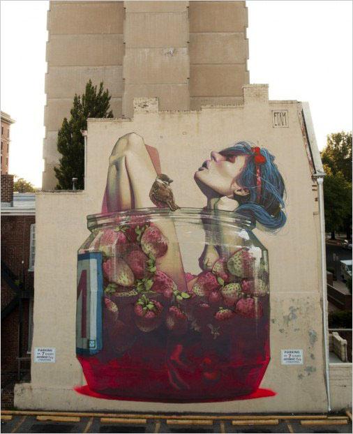 Мурал «MOONSHINE» был нарисован в 2013 году, в Ричмонде, дуэтом художников Etam Cru (Sainer и Bezt).