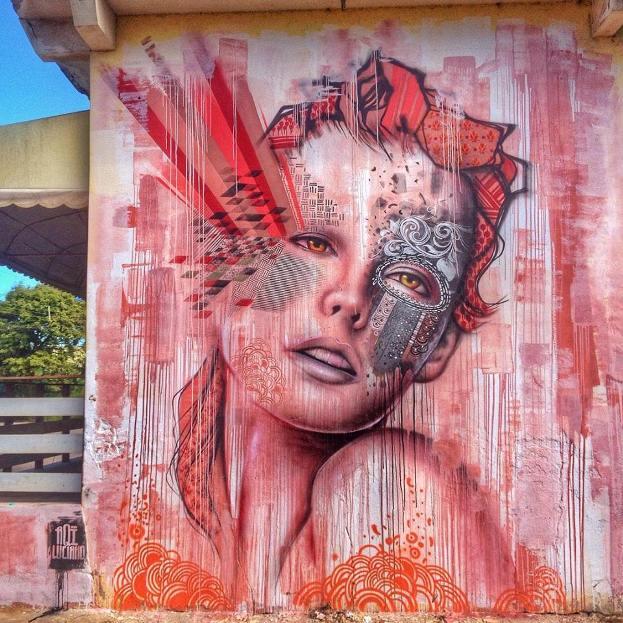 На фото мурал нарисованный в городе Вила-Велья Его создал бразильский стрит-арт художник AQI Luciano