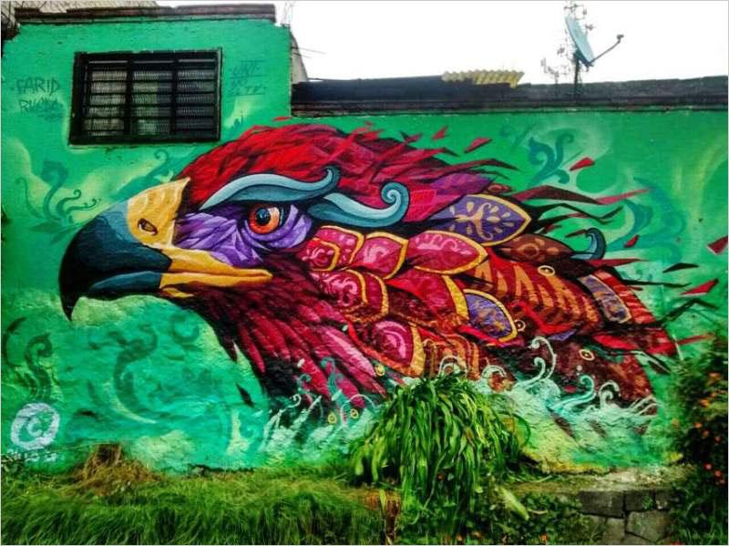 Мурал Wings of Destiny нарисованный в Мехико. Его создал мексиканский стрит-арт художник Farid Rueda