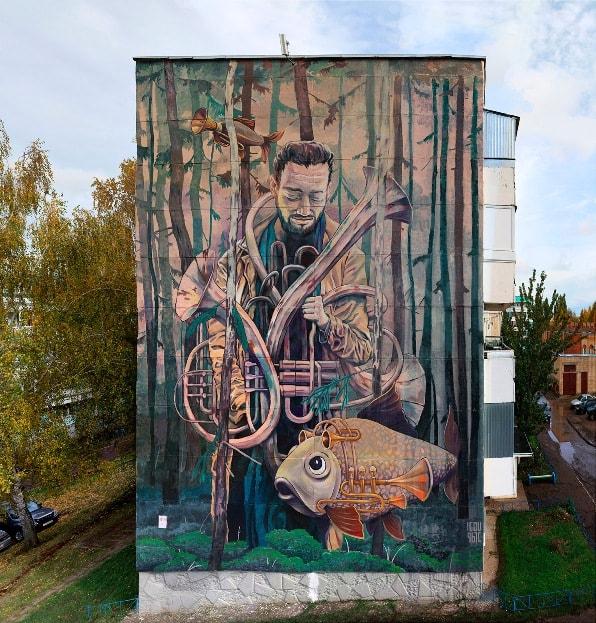 Мурал «Момент вдохновения» является продуктом творчества двух художников: Rustam QBic и Igor Igou.
