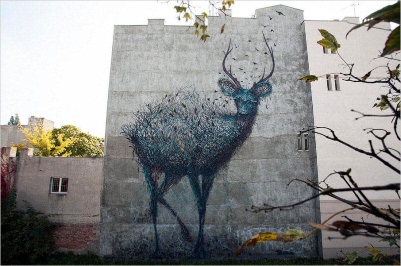 Мурал «Gaiad» нарисованный в городе Лодзь. Его нарисовал китайский стрит-арт художник DALeast.