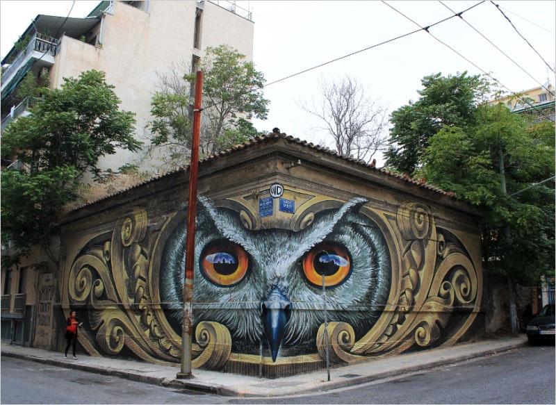 Мурал был нарисован в 2016 году, в Афинах. Его нарисовал индонезийский художник WD (Wild Drawing).