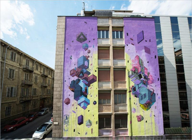 На фото мурал «DUEL» нарисованный в Турине. Его нарисовал итальянский стрит-арт художник Etnik.