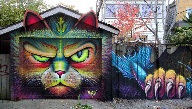 Мурал. Канадско-чилийская стрит-арт художница Shalak Attack и бразильский художник Bruno Smoky.