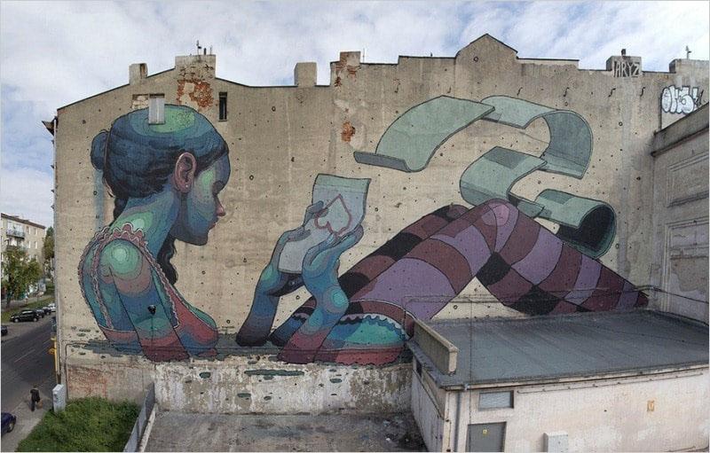 Мурал «Love letter» был нарисован в 2012 году, в городе Лодзь. Его нарисовал испанский художник Aryz