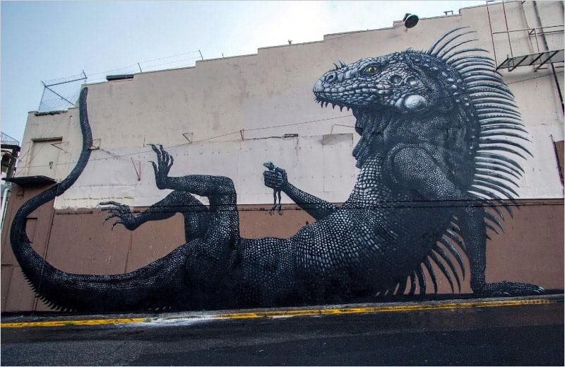 Мурал нарисованный в городе Сан-Хуан (Пуэрто-Рико). Его нарисовал бельгийский стрит-арт художник ROA