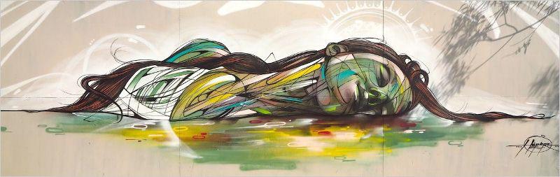Мурал «Celle qui dort» был нарисован в городе Лимур. Его нарисовал португальский художник Hopare.