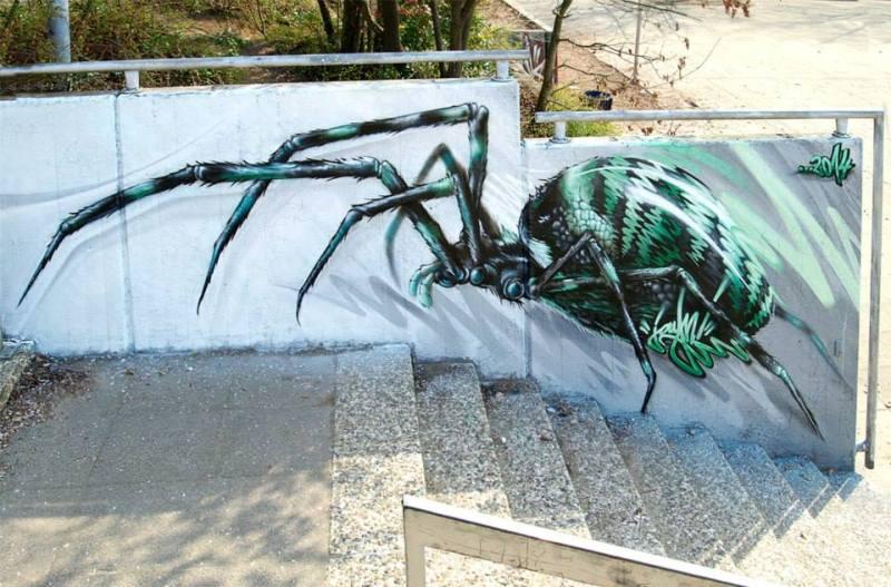 Мурал «Spider» был нарисован в 2014 году. Его нарисовал немецкий художник JAYN.