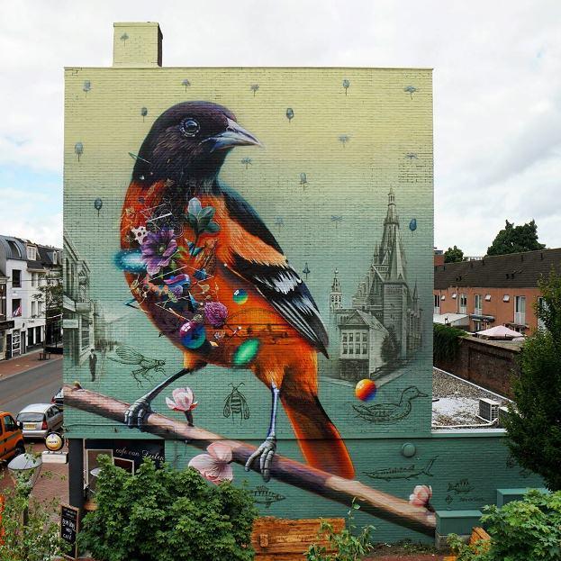 Мурал в городе Неймеген. Его нарисовали 2 нидерландских художника Collin van der Sluijs и Super A.