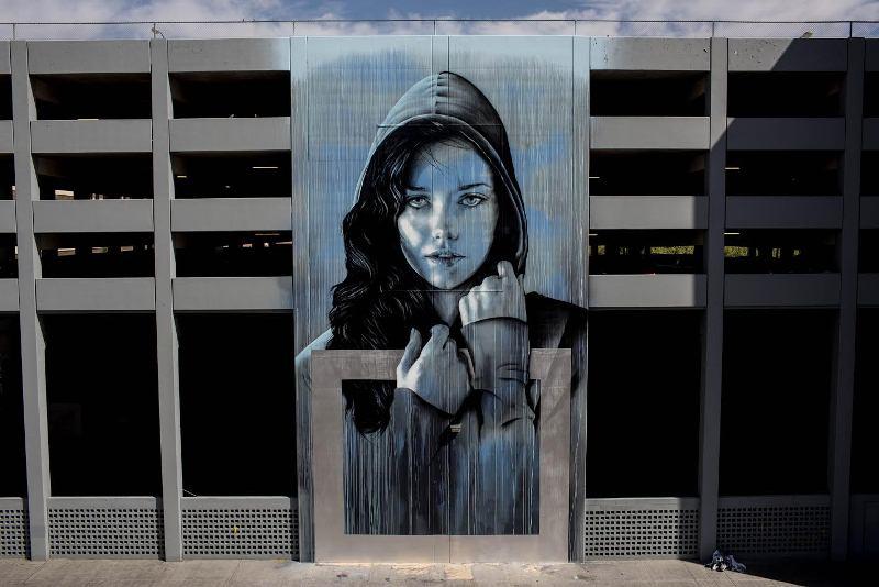 Мурал «Face of Reno» был нарисован в Рино. Его нарисовала американская художница Christina Angelina.