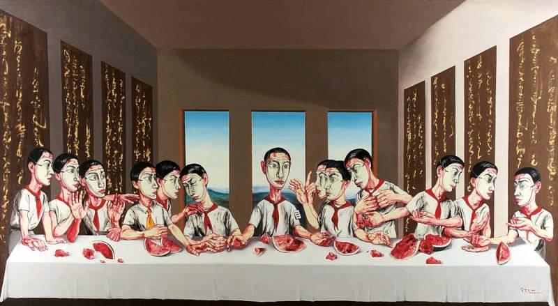 На фото картина знаменитого современного китайского художника Цзэна Фаньчжи «Тайная вечеря».