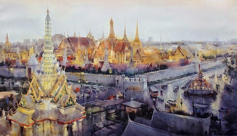 На фото картина известного современного таиландского художника Дирека Кингнока.