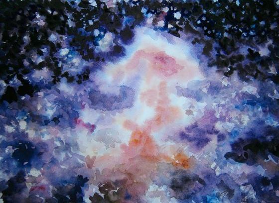 Фото. Картинка. Как нарисовать космос акварелью. Поэтапно. Для начинающих. Картина. Мастер класс. Творческая мастерская Огонь