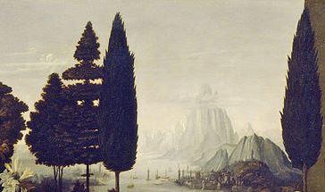 Пейзаж. Фрагмент картины Благовещение. Леонардо да Винчи.