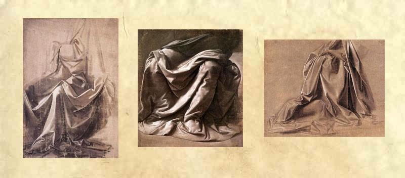 Изучение драпировки одежды для сидящей фигуры. Леонардо да Винчи.