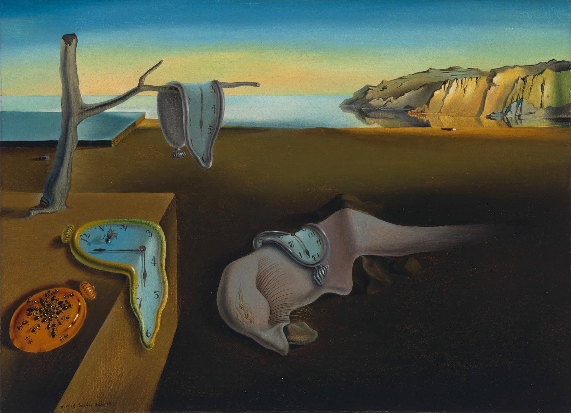 Постоянство памяти картина Сальвадора Дали. (часы, время течет, постоянство времени, картина с часами).