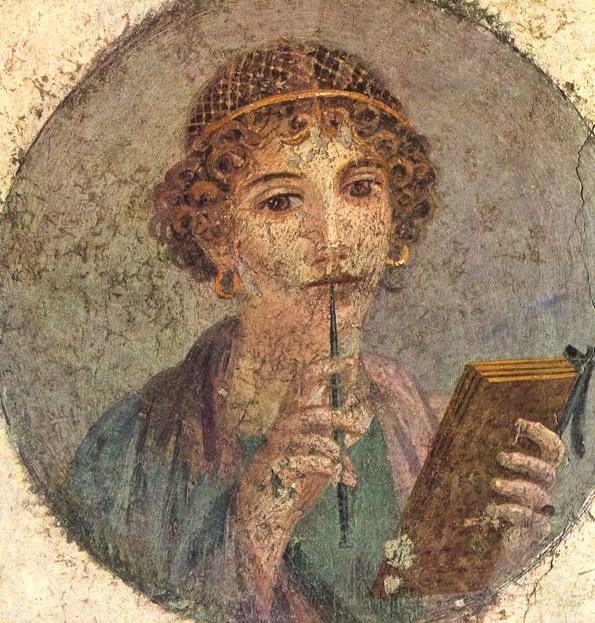 Римская фреска «Сафо» из Помпей. Находится в Национальном археологическом музее Неаполя, была обнаружена в 1760 году.