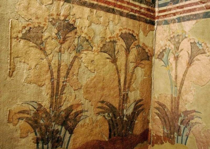 Папирус - фреска из Акротири (Греция, остров Санторини), найденная на месте поселения Бронзового века, Минойской цивилизации.
