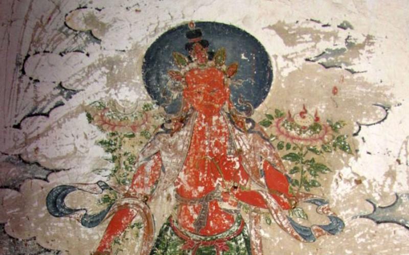 Фото. Одна из древних фресок в храме Юнчжи, в городе Чаоян, провинции Ляонин, на северо-востоке Китая.
