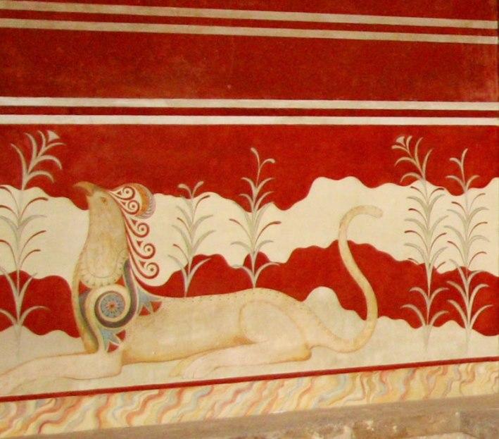 Минойская фреска «Грифон» написанная около 1700 - 1450 гг  до н. э. в Кносском дворце.
