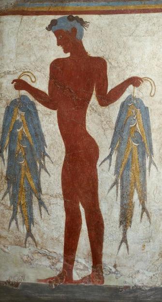 «Рыбак» - минойская фреска Бронзового века, из Акротири на Эгейском острове Санторини (Тера). Около 1640 – 1600 гг до н.э.