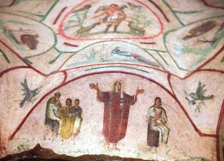 Фреска обнаружена в 16-ом веке. Находится в лабиринте катакомб Присциллы, в Риме.