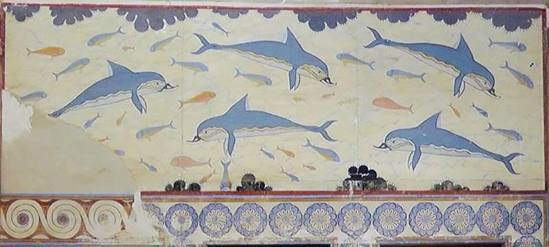 «Дельфины» минойская фреска из Кносского дворца на Крите. 1700 - 1450 до нашей эры.