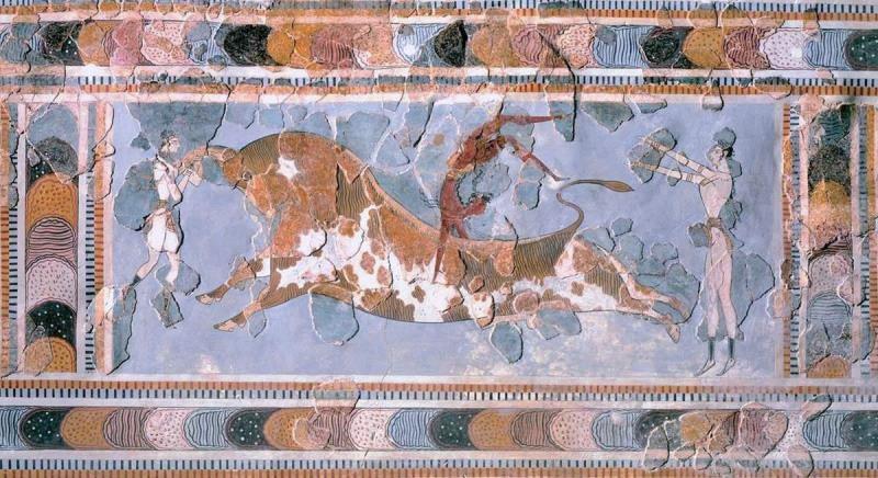 Фреска Тореадор, из дворца Скала/Арт-ресурс, Нью-Йорк. Находится в археологическом музее, в городе Ираклион, на острове Крит.