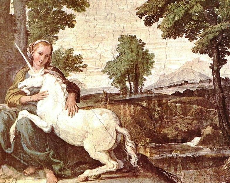 Фреска начала 17-го века, возможно, принадлежит кисти Domenichino, находится в Палаццо Фарнезе, в Риме.