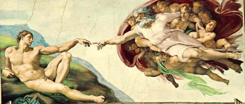 Сотворение Адама картина фреска Микеланджело Буонарроти. Смотреть фото и описание картины. Сикстинская капелла.