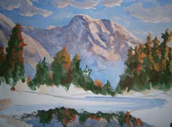 Как нарисовать гуашью природу: листья, елку, лес, осень, осенний пейзаж. Картины нарисованные поэтапно. Для начинающих. Природа.