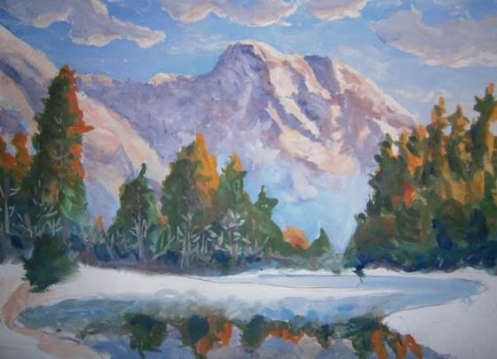 Как нарисовать гуашью лето, летний или осенний пейзаж, реку, горы, траву. Поэтапно.