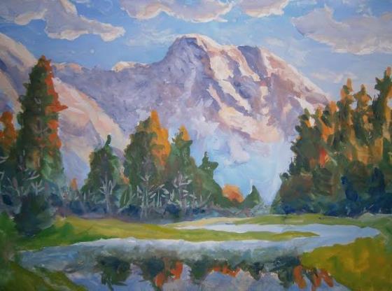 Как и что можно нарисовать гуашью. Поэтапно. Для начинающих. Нарисовать гуашью дерево, лес, природу, горы, облака.
