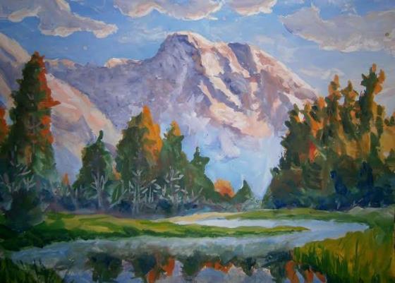 Как красиво нарисовать пейзаж гуашью. Поэтапно. Для начинающих. Пейзажи нарисованные красками гуашь. Рисовать дерево гуашью.