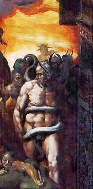 Бьяджо да Чезена в роли Миноса, судьи загробного мира фрагмент картины фрески Страшный суд. Микеланджело Буонарроти.