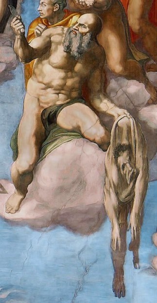 Апостол Варфоломей. Фрагмент картины фрески Страшный суд. Микеланджело Буонарроти.