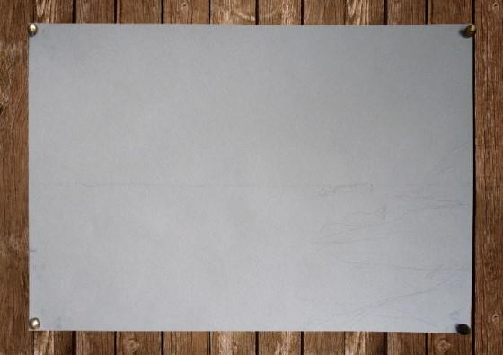 Набросок для последующего рисования морского пейзажа акварелью: линия горизонта и контуры скал.