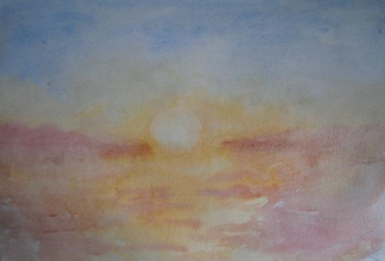 Начало рисования морского пейзажа акварельными красками.