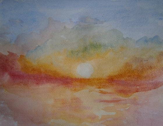 Продолжаем рисовать морской пейзаж акварельными красками.