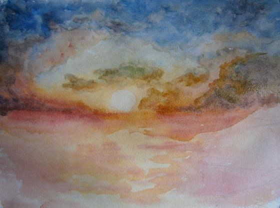 Как поэтапно нарисовать море акварелью поэтапно для начинающих