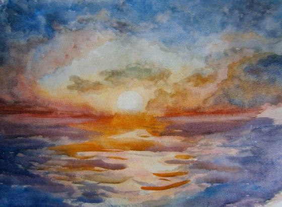 Небо, облака, солнце акварелью. Рисунок неба. Акварель. Красивый морской пейзаж. Рисование неба, моря на фоне неба.