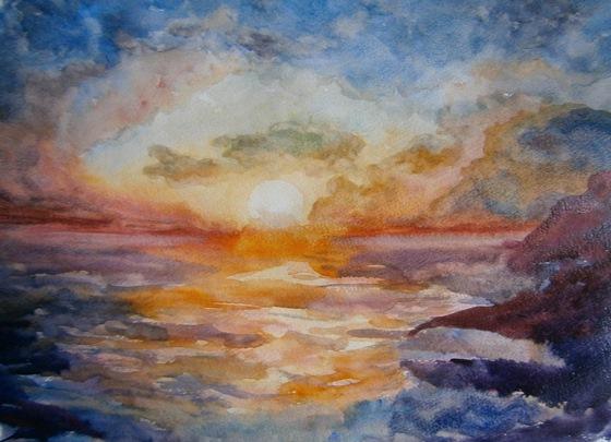 Рисунки акварелью. Картина акварелью по мокрому. Закат. Пейзажи природы. Фото. Морской пейзаж. Пейзаж. Море. Рисунок.
