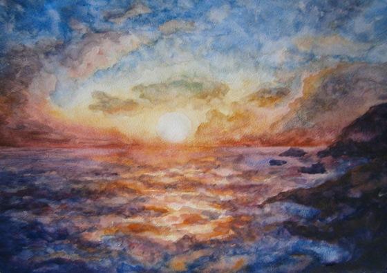 Картинки. Море акварелью. Рисунки, пейзаж моря. Закат солнца на море, акварель. Картины. Фото. Рисунок заката акварелью.
